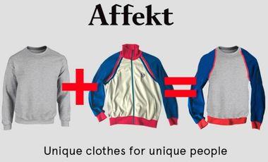 Project visual Affekt, streetwear: unique and original pieces, handmade in Paris.