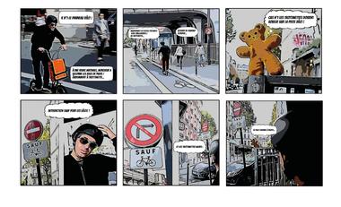 Project visual Code de la trottinette et du déplacement Urbain (CDU) en BD photos à Paris !