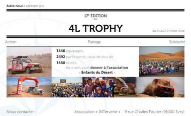 Visuel du projet Chloé et Alexandre, en route pour le 4L Trophy 2014