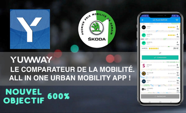 Visueel van project Yuwway, all in one urban mobility app!