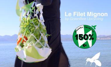 Project visual GreenBee présente le Filet Mignon upcyclé à partir de bâches évènementielles