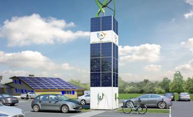 Visueel van project SmartGreenCharge : la station de recharge écologique et locale