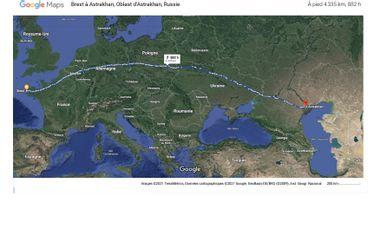 Project visual De Brest en Bretagne à Astrakhan en Russie à pied