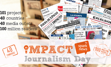 Visueel van project Impact Journalism Day 2014