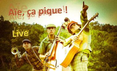 """Visuel du projet Les 3 MoustiKaires : Album Live """"Aïe, ça pique !"""""""