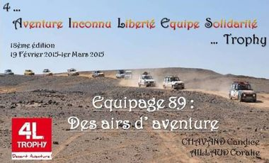 Project visual 4L Trophy 2015 Equipage 89 « Des Airs d'Aventure »