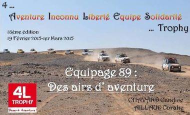 Visueel van project 4L Trophy 2015 Equipage 89 « Des Airs d'Aventure »