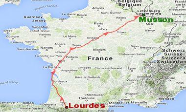 Project visual 1113 km de Lourdes(Fr) à Musson(Bel) en aide aux personnes polyhandicapées.