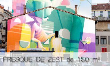 Project visual Fresque graffiti géante de 150 m² par ZEST, en centre ville de Montpellier.