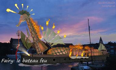 Visueel van project Le Fairy, la péniche au spectacle de feu et de flammes à travers l'Europe.