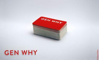 Project visual GEN WHY - Le jeu de cartes qui récompense enfin le mauvais esprit.