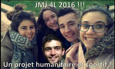 Visueel van project Aventure JMJ en 4L pour Quentin, Gabriel, Alix, Laetitia et Blandine !!!