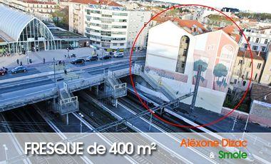 Visuel du projet Fresque graffiti d'ALËXONE et SMOLE, 400 m² à la Gare de Montpellier.