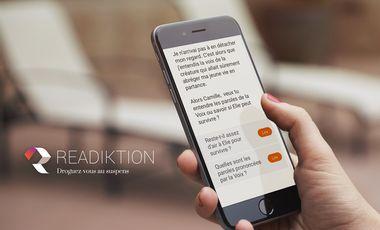 Project visual Application Readiktion, finançons de jeunes auteurs