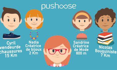 Project visual Pushoose - Le commerce local dans une app mobile